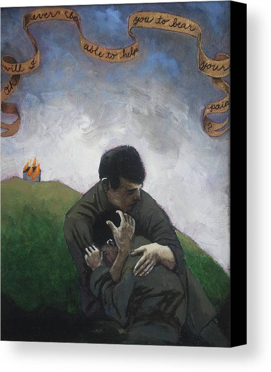 Men Canvas Print featuring the painting Oh Will I Ever Be Able To Help You To Bear Your Pain by Pauline Lim