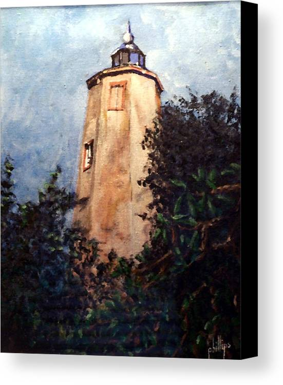 Lighthouse Canvas Print featuring the painting Old Baldy by Jim Phillips