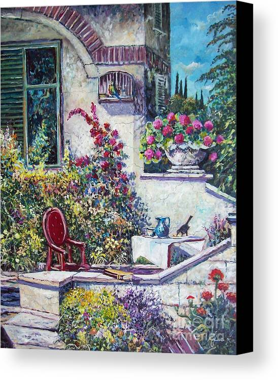 Original Painting Canvas Print featuring the painting On The Porch by Sinisa Saratlic