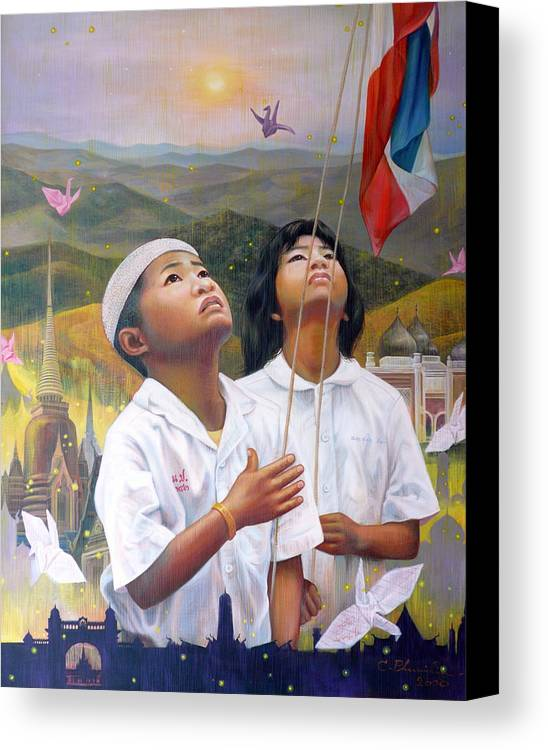 Acrylic Canvas Print featuring the painting One Heart Of Thailand by Chonkhet Phanwichien