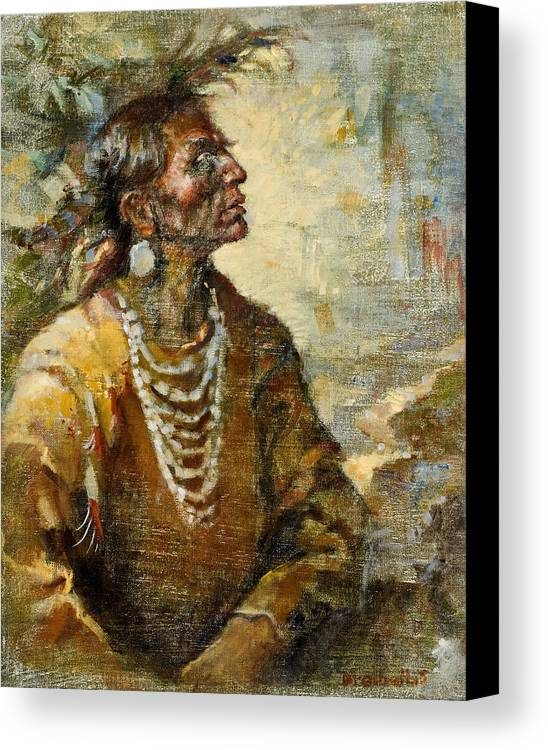 Native American Canvas Print featuring the painting One With The Earth by Ellen Dreibelbis