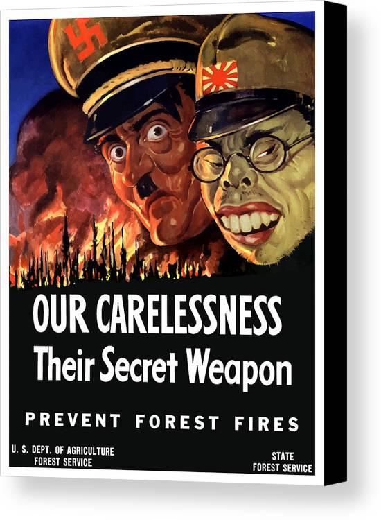 Ww2 Canvas Print featuring the painting Our Carelessness - Their Secret Weapon by War Is Hell Store