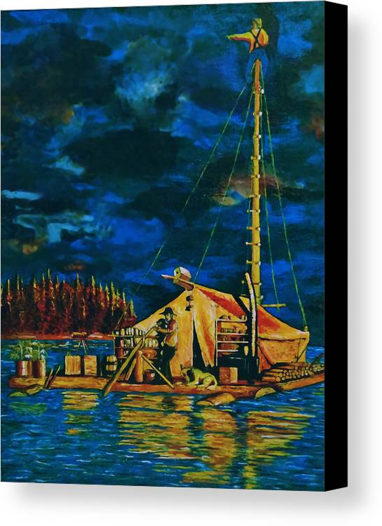 Raft Canvas Print featuring the painting Our Raft by Rick Ritchie