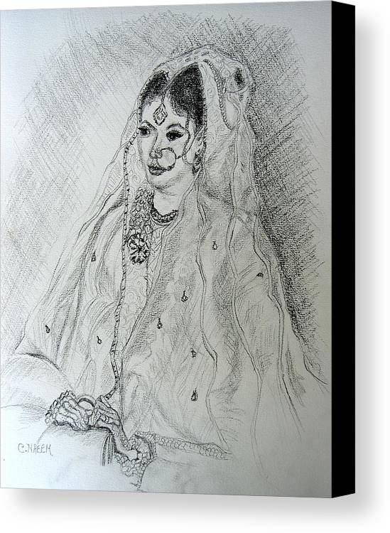 Pakistani Canvas Print featuring the drawing Pakistani Bride by Caroline Urbania Naeem