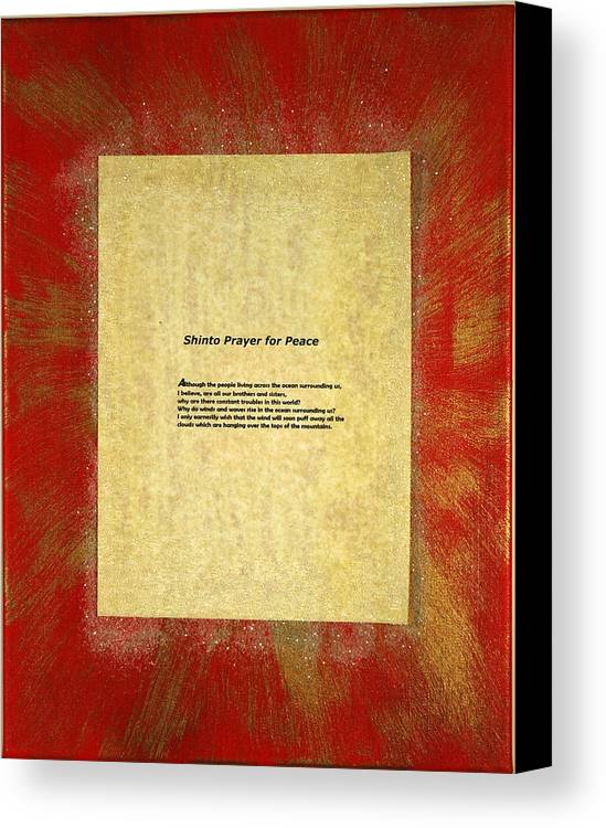 Peace Canvas Print featuring the painting Peace Prayers - Shinto Prayer For Peace by Emerald GreenForest
