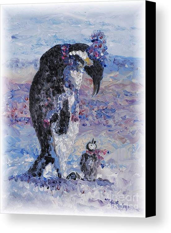 Penguins Winter Snow Blue Purple White Canvas Print featuring the painting Penguin Love by Nadine Rippelmeyer