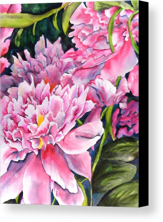 Peony Canvas Print featuring the painting Peony In Pink by Diane Ziemski