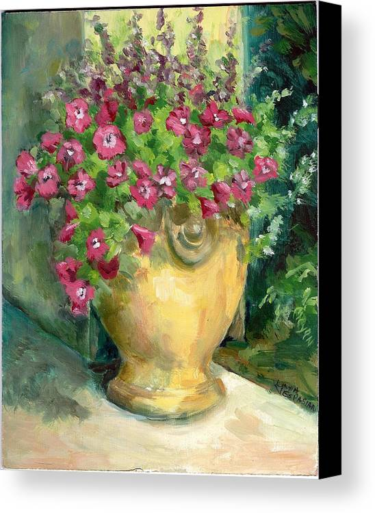 Still Life Canvas Print featuring the painting Petunias by Linda Vespasian