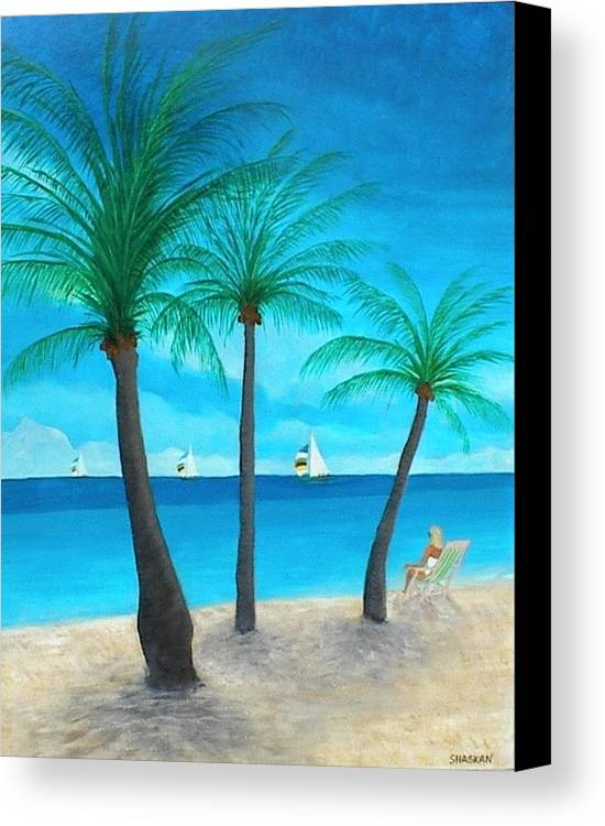 Beach Canvas Print featuring the painting Pine Island Lady by Paul O Shaskan