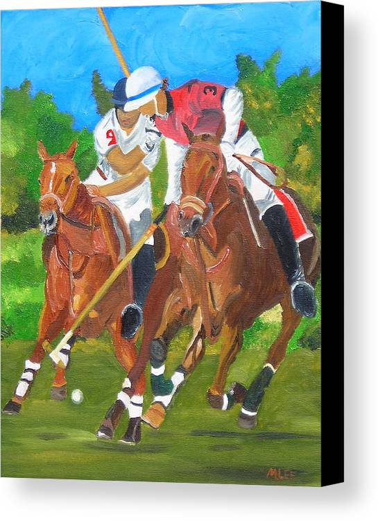 Polo Canvas Print featuring the painting Play In Motion by Michael Lee