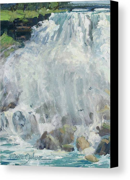 Niagara Falls Canvas Print featuring the painting Playing In The Mist - Niagara Falls by L Diane Johnson
