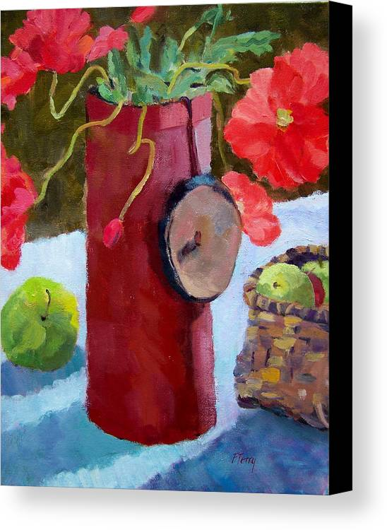 Red Poppies Canvas Print featuring the painting Poppies On The Table by Fay Terry