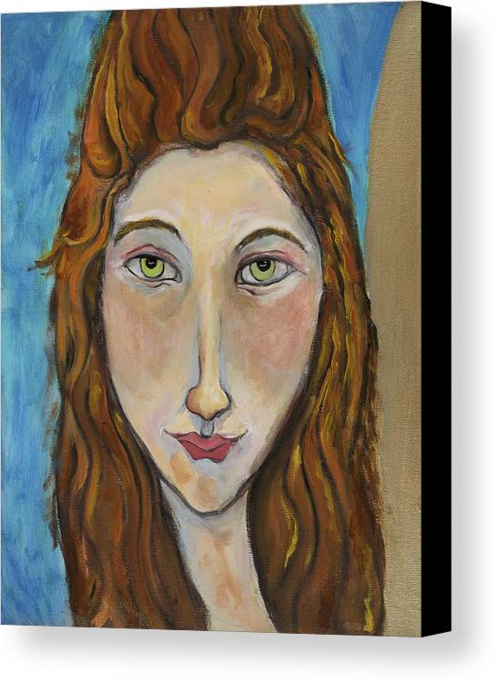 Portrait Canvas Print featuring the painting Portrait Of A Girl by Michelle Spiziri