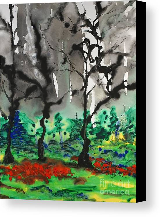 Forest Canvas Print featuring the painting Primary Forest by Nadine Rippelmeyer