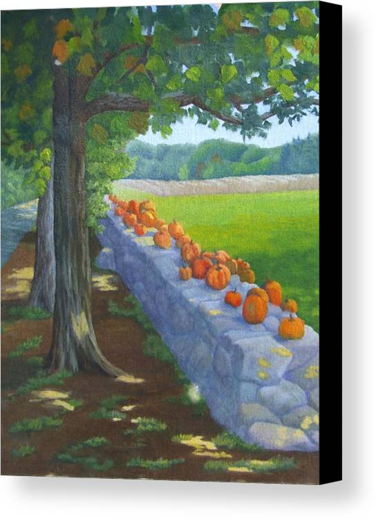 Pumpkins Canvas Print featuring the painting Pumpkin Muster by Sharon E Allen