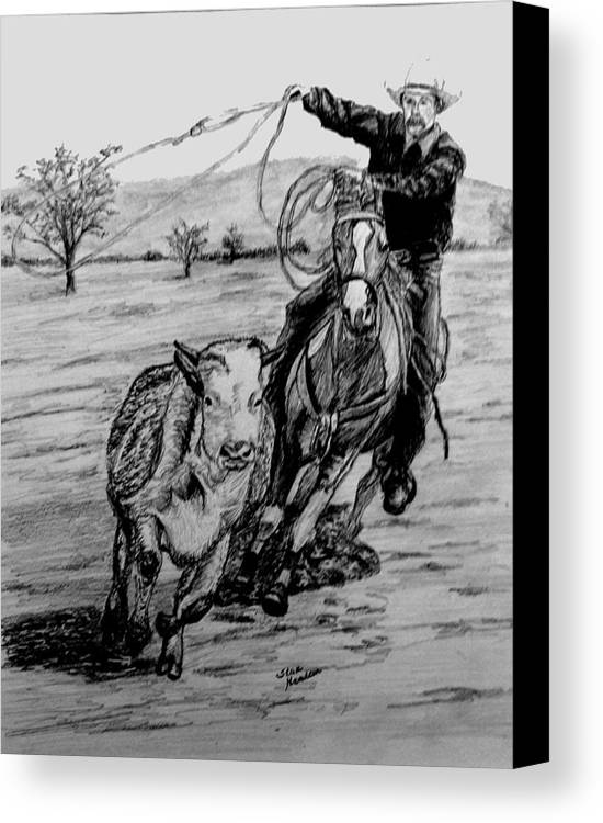 Pencil Canvas Print featuring the drawing Ranch Work by Stan Hamilton