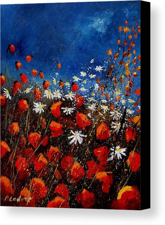 Flowers Canvas Print featuring the painting Red Poppies 451108 by Pol Ledent