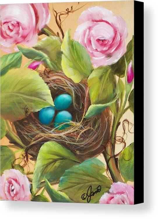 Floral Canvas Print featuring the painting Robin's Nest by Joni McPherson