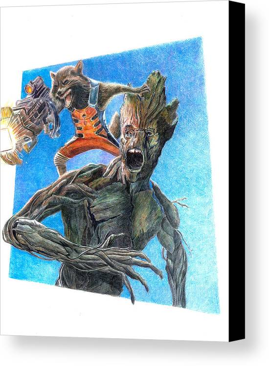 Marvel Canvas Print featuring the drawing Rocket And Groot by Serafin Ureno