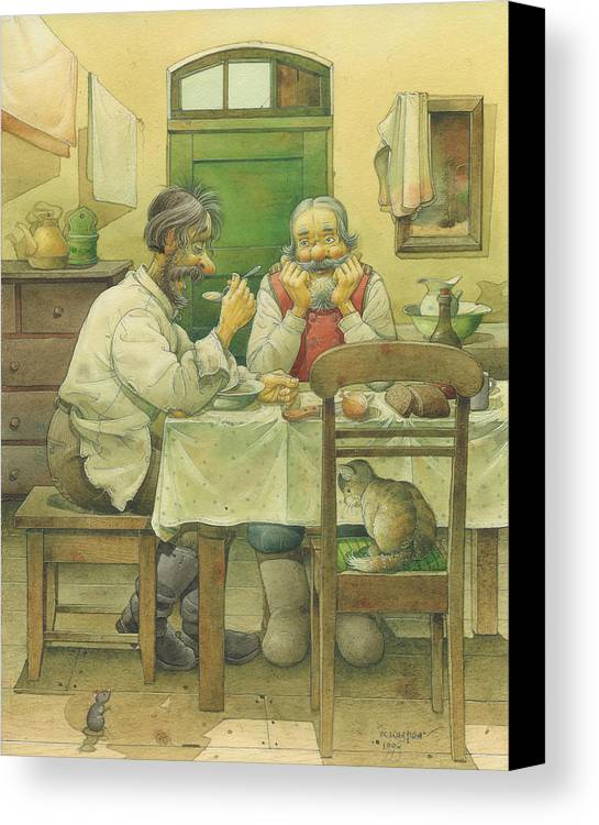 Russian Winter Canvas Print featuring the painting Russian Scene 08 by Kestutis Kasparavicius