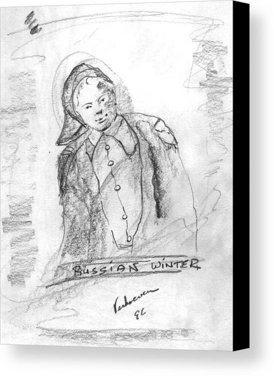 Person Signafying Season Canvas Print featuring the drawing Russian Winter by Alfred P Verhoeven