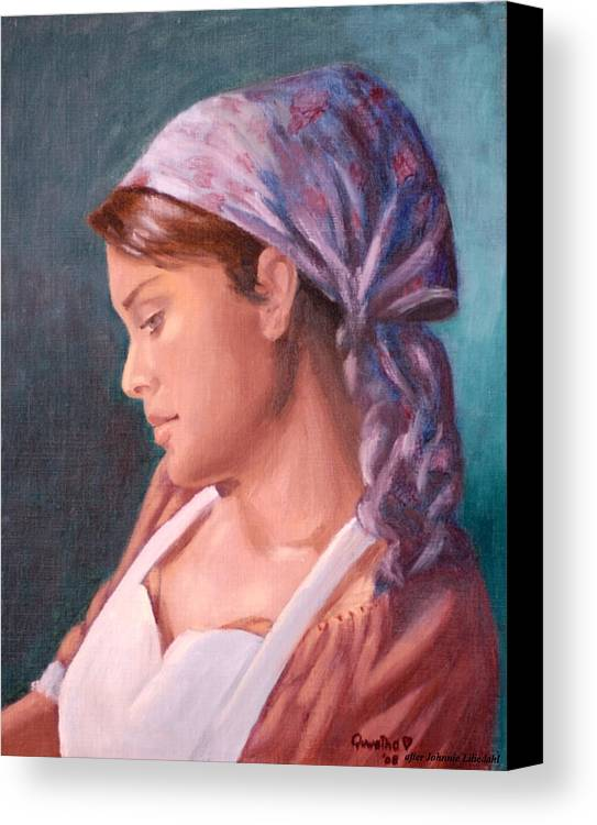 Maid Canvas Print featuring the painting Sarah The Kitchen Maid After Johnnie Liliedahl by Quwatha Valentine