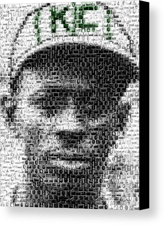Negro Leagues Canvas Print featuring the mixed media Satchel Paige Kc Monarchs African American Mosaic by Paul Van Scott