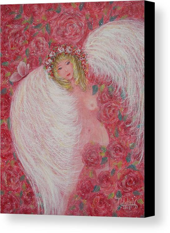 Angel Canvas Print featuring the painting Secret Garden Angel 6 by Natalie Holland