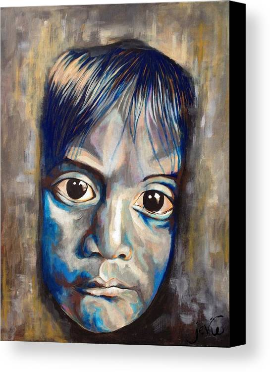 Shades Of Why Canvas Print featuring the painting Shades Of Why, Sad Child Painting by Jevie Stegner
