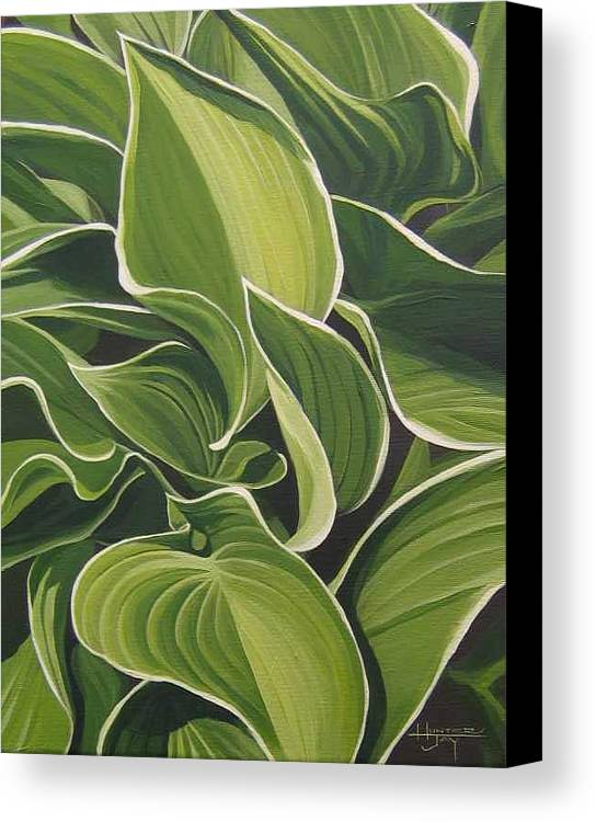 Closeup Of Hosta Plant Canvas Print featuring the painting Shapes That Go Together by Hunter Jay