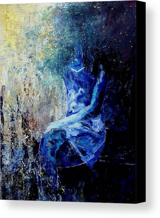 Woman Girl Fashion Canvas Print featuring the painting Sitting Young Girl by Pol Ledent