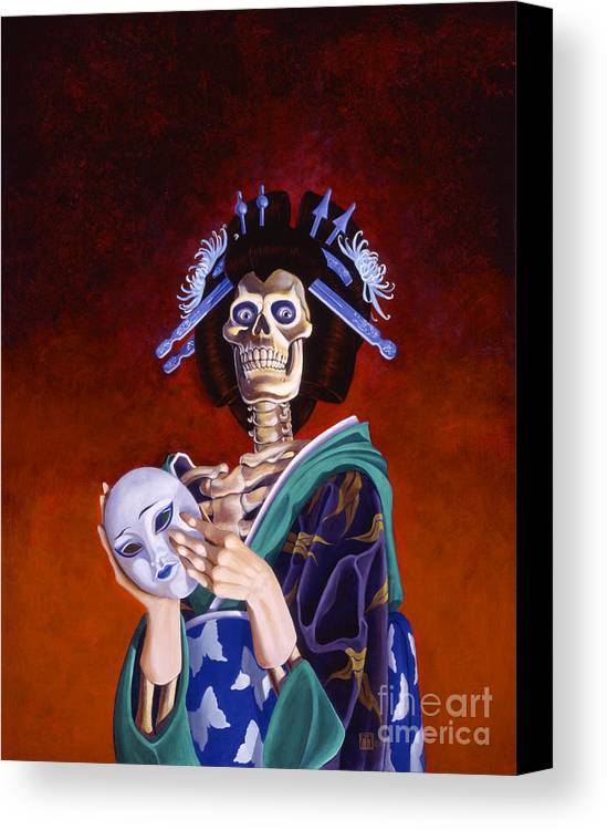 Skeleton Canvas Print featuring the painting Skeletal Geisha With Mask by Melissa A Benson