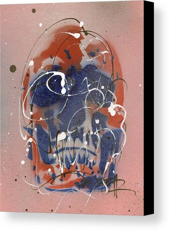 Red Canvas Print featuring the painting Skull #6 by Ryan Hopkins