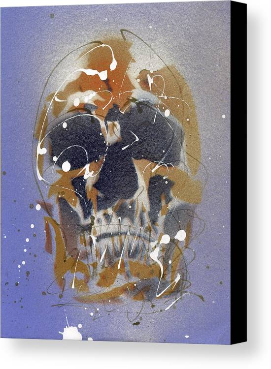 Skull Canvas Print featuring the painting Skull #7 by Ryan Hopkins