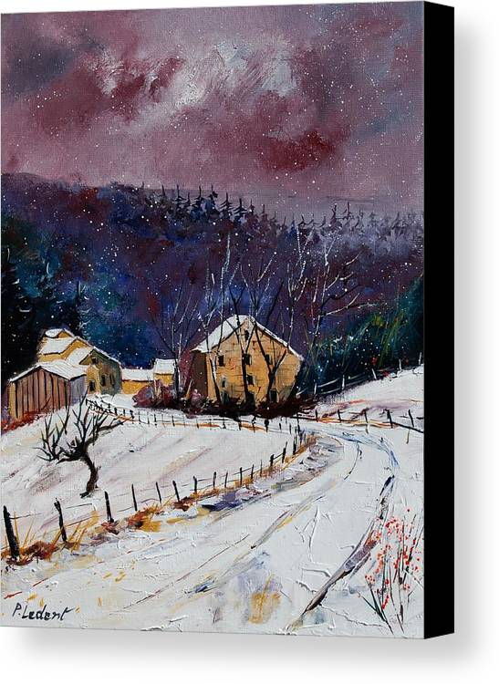 Landscape Canvas Print featuring the painting Snow In Sechery by Pol Ledent