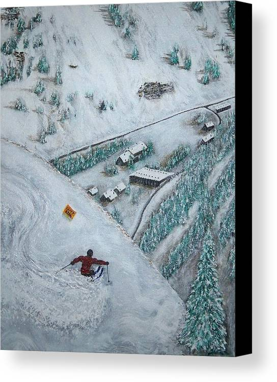 Ski Canvas Print featuring the painting Snowbird Steeps by Michael Cuozzo