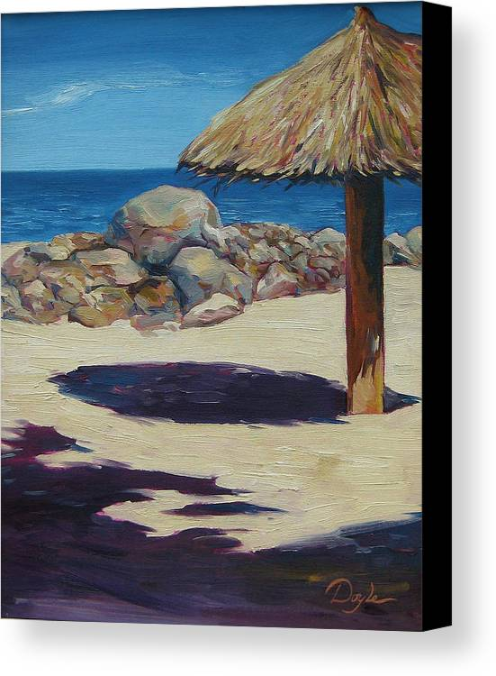 Ocean Canvas Print featuring the painting Solo Palapa by Karen Doyle