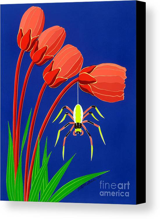 Nature Canvas Print featuring the drawing Spider by Lucyna A M Green