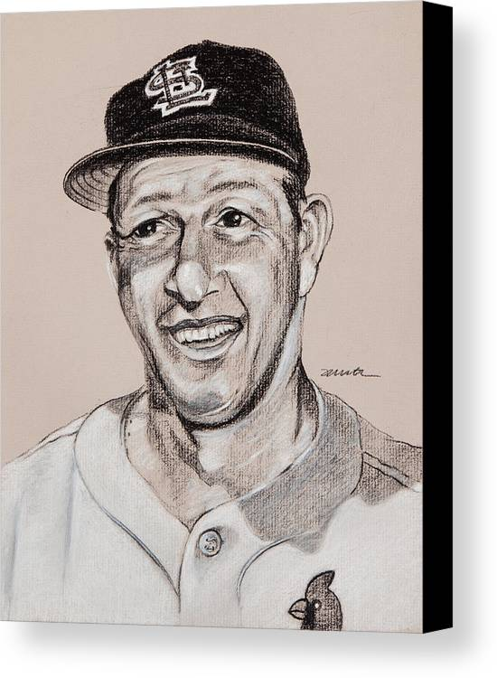 St. Louis Cardinals Canvas Print featuring the drawing Stan The Man by Jim Wetherington