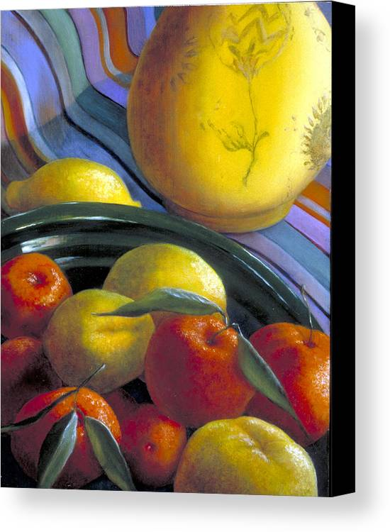 Oil Painting Canvas Print featuring the painting Still Life With Citrus by Nancy Ethiel