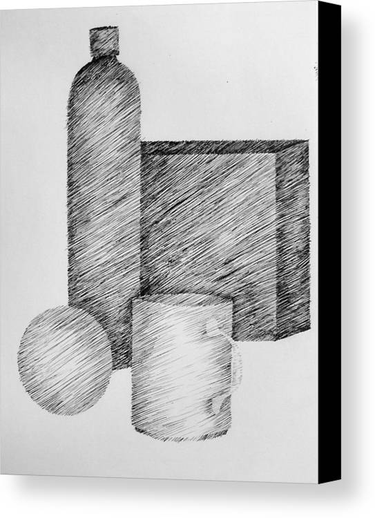 Still Life Canvas Print featuring the drawing Still Life With Cup Bottle And Shapes by Michelle Calkins