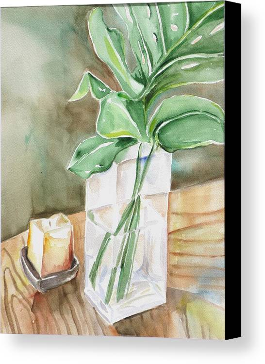 Still Life Canvas Print featuring the painting Still Life With Leaf by Kathy Mitchell