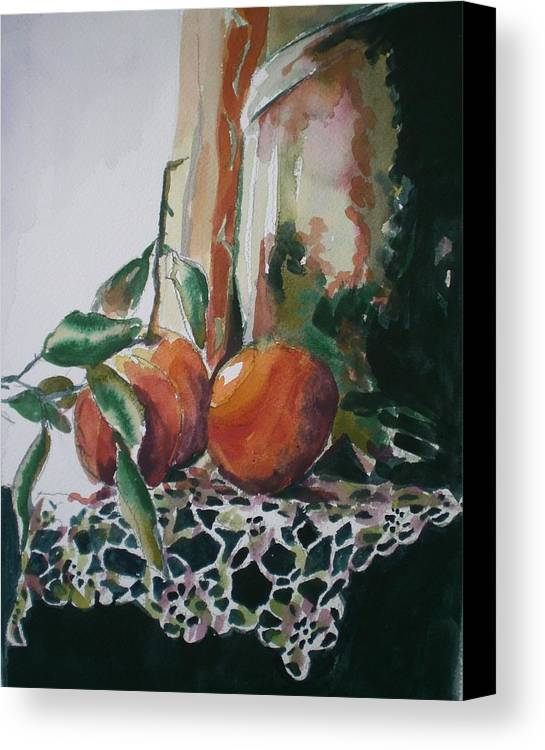 Oranges Canvas Print featuring the painting Still Life With Oranges by Aleksandra Buha