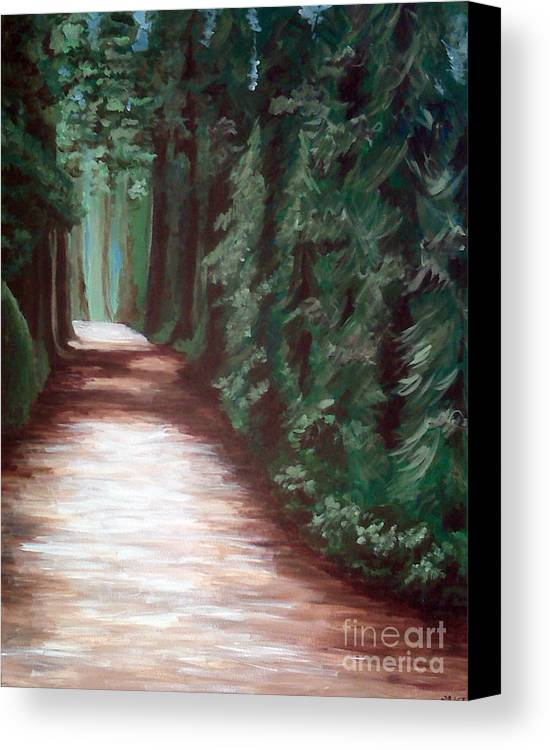 Trees Canvas Print featuring the painting Straight And Narrow by Emily Martinez