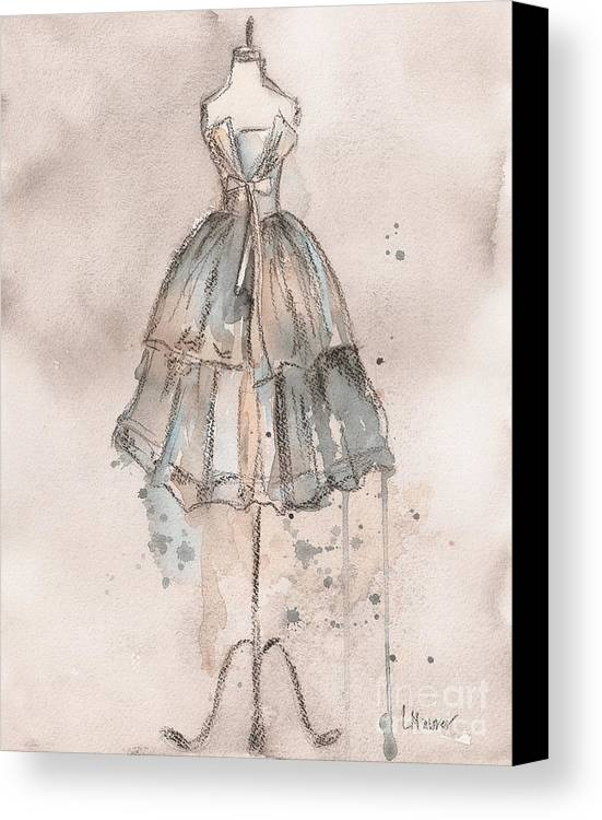 Vintage Dress Canvas Print featuring the painting Strapless Champagne Dress by Lauren Maurer