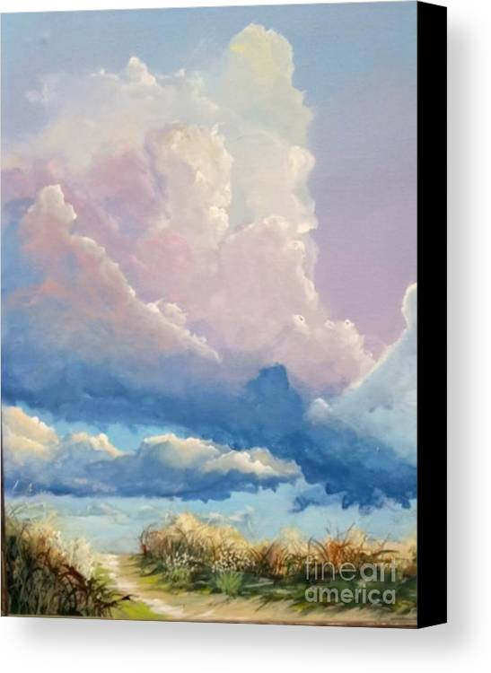 Landscape Canvas Print featuring the painting Summer Clouds by John Wise
