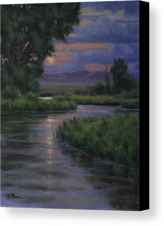 Summer Moonrise Canvas Print featuring the painting Summer Moon by Joe Mancuso