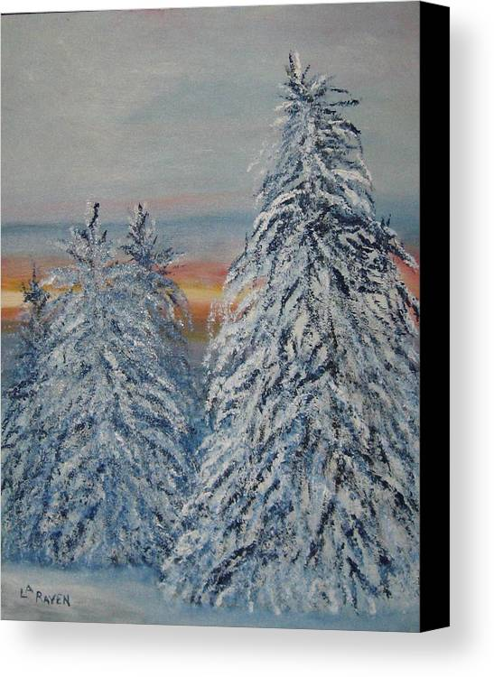 Landscape Canvas Print featuring the painting Sunrise After Snow Storm by L A Raven
