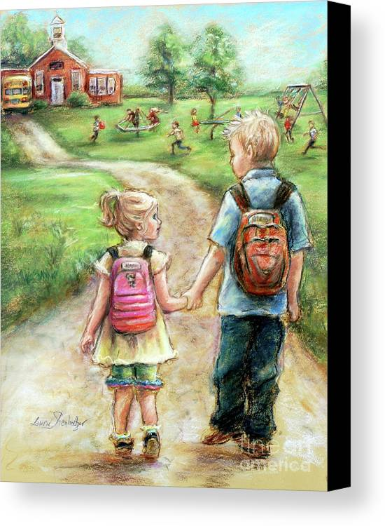 Sister Canvas Print featuring the pastel Take My Hand Little Sis by Laurie Shanholtzer