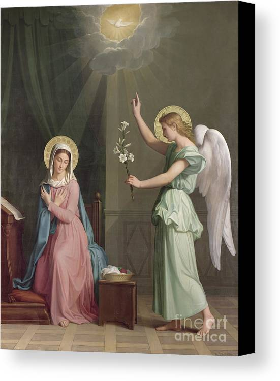 The Canvas Print featuring the painting The Annunciation by Auguste Pichon